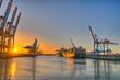 canvas print picture - Hamburger Hafen in der Abendsonne