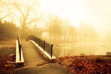 Fog And Golden Morning Light With Footbridge Of Pond