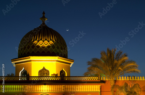 Night minaret under the moon