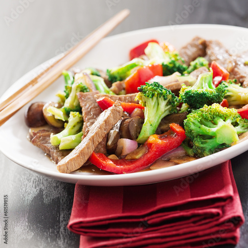 chinese stir fry with beef and vegetables Canvas Print