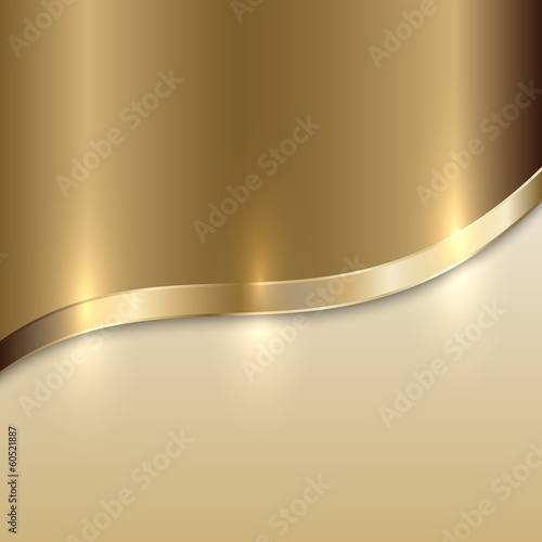Poster  Vector golden texture background with curve
