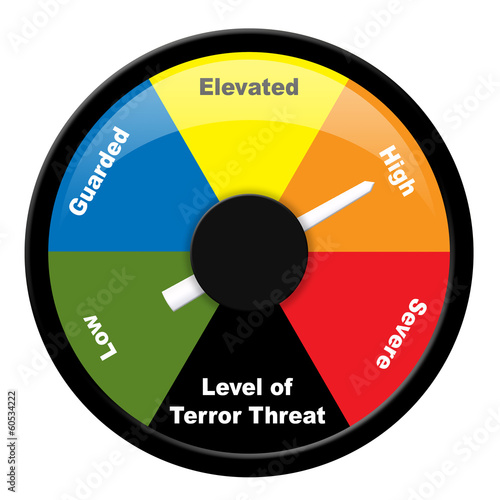 Fotografía  Illustration showing level of terror threat - High