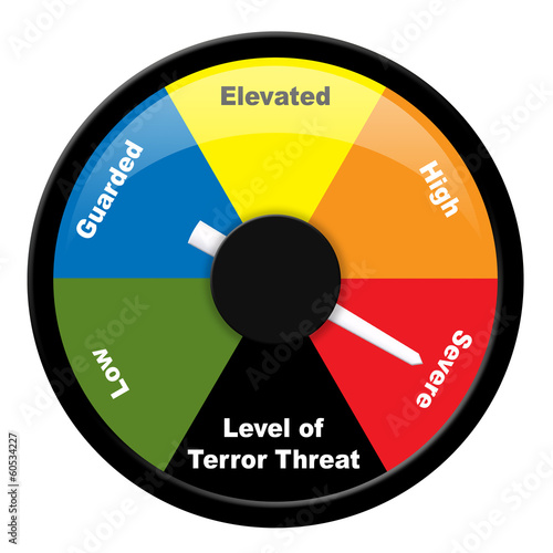Fotografía Illustration showing level of terror threat - Severe