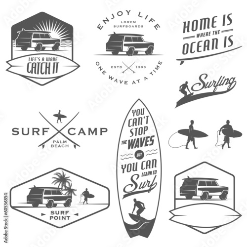Fotografie, Obraz  Set of vintage surfing labels, badges and design elements