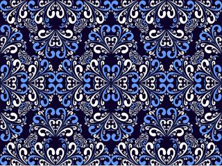 Seamless ornamental blue-white Pattern.