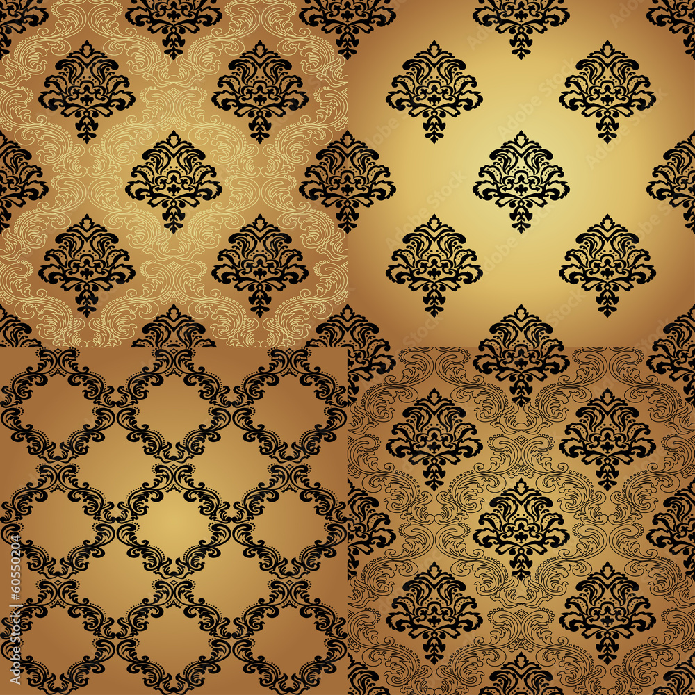 Set of  Seamless Pattern  In Damask style.