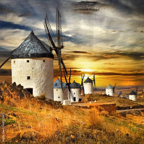 Fotografie, Obraz  Spain,Consuegra. windmills on sunset,