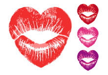Red Heart Shaped Lips, Vector Set