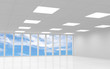 Abstract white office 3d interior with blue sky behind windows