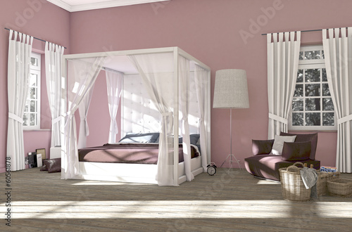 Rosa Schlafzimmer rosa schlafzimmer mit himmelbett - buy this stock illustration and