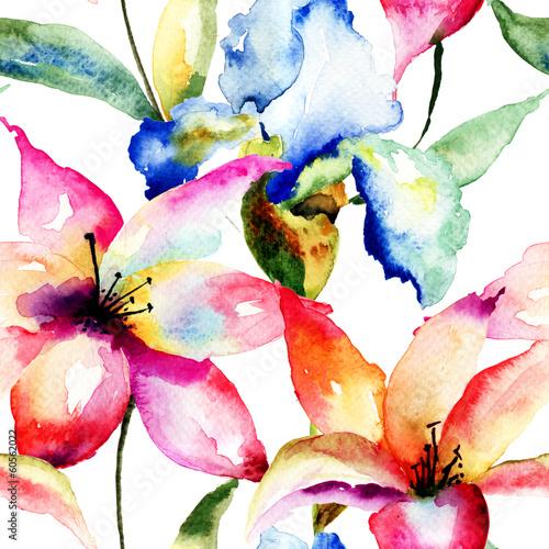 Bezszwowa tapeta z kwiatami lilii i tęczówki