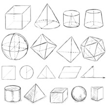 Vector Set Of Dirty Sketch Geometric Shapes