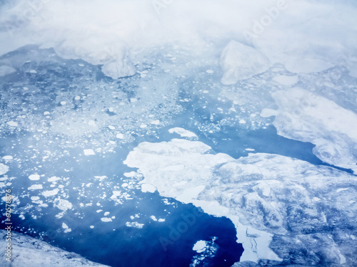 In de dag Poolcirkel aerial view of pack ice