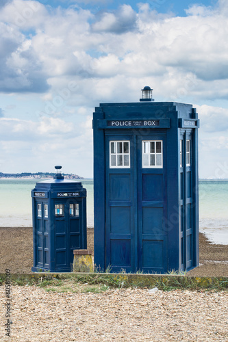 Canvas Print Two police boxes