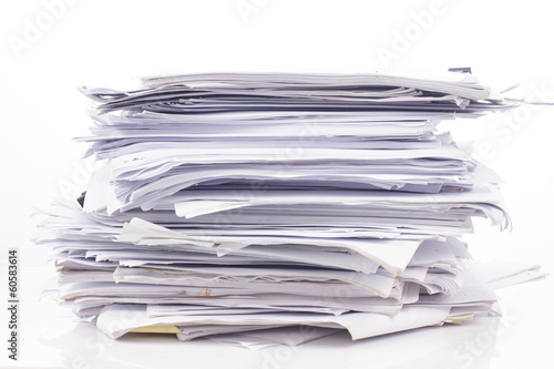 Fototapeta Piled up office work papers obraz