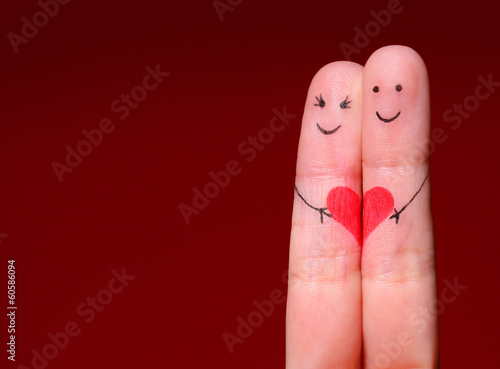Happy Couple Concept. Two fingers in love with painted smiley Tableau sur Toile