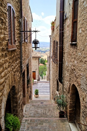 Medieval stepped street in the Italian hill town of Assisi