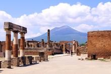 Mount Vesuvius Through The Ruins Of Pompeii, Italy