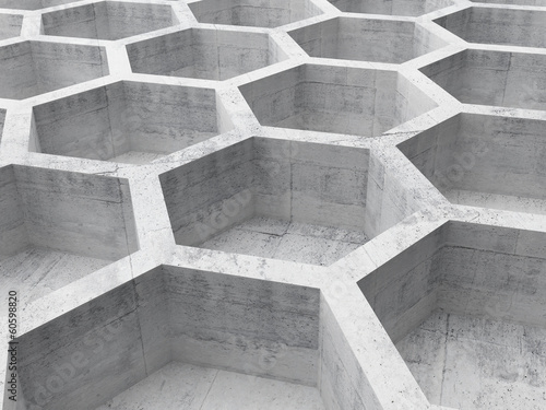 Gray concrete honeycomb structure background. 3d illustration