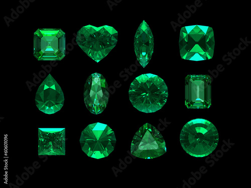 Fotografía group of emerald shape with clipping path