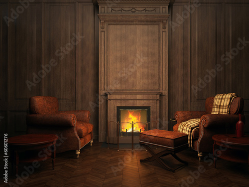 Foto op Plexiglas Wand armchairs and fireplace