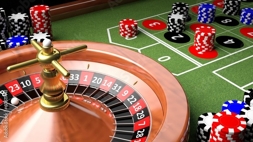 Fotografie, Obraz  Casino table with roulette and chips