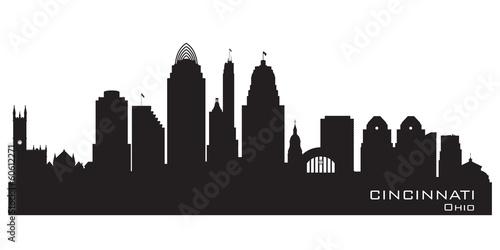 Cincinnati Ohio city skyline vector silhouette