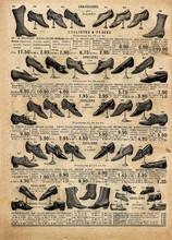 Vintage Victorian Shoes Collection. Antique Shop Advertising