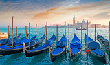 gondolas at dusk