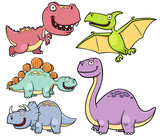 Fototapeta Dinusie - Vector illustration of Dinosaurs cartoon characters