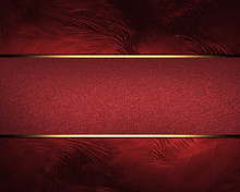Design Template. Red Background With Red Ribbon