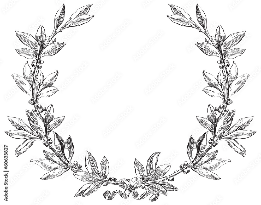 Fototapeta Vector laurel wreath at engraving style.
