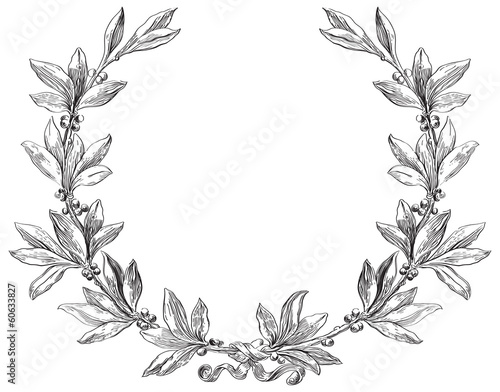 Vector laurel wreath at engraving style. Canvas Print