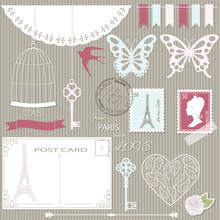 Romantic Scrapbook Design Elements Set.