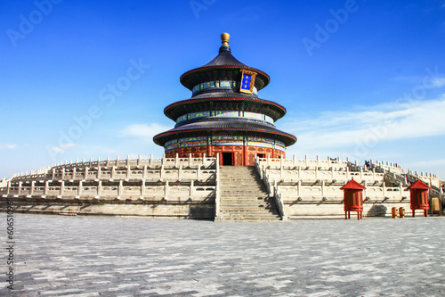 Poster Pékin temple of heaven with blue sky, Beijing, China