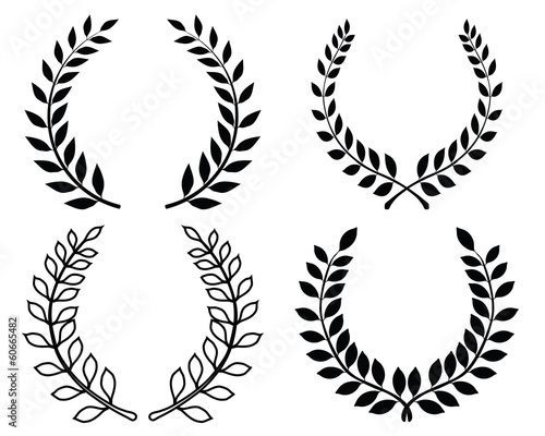Fotografie, Obraz  Black silhouettes of laurel wreaths, vector illustration
