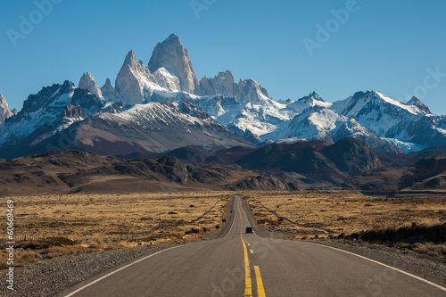 Aluminium Prints Blue Road to El Chalten, Fitz Roy in background