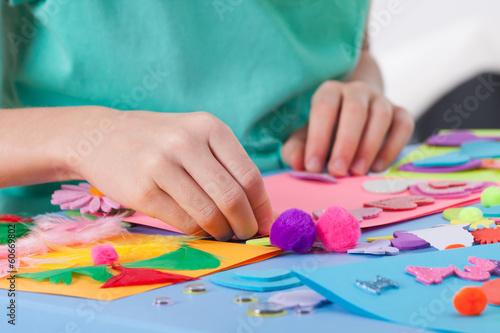 Fotografija Little boy making crafts