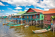 The Floating Village On The Water Of Tonle Sap Lake. Cambodia.