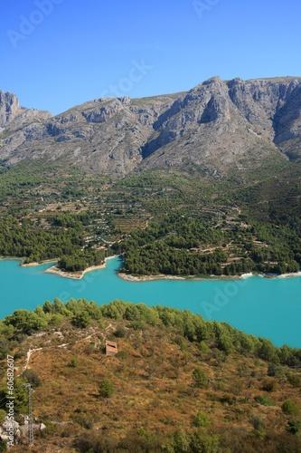 Photo Stands Salmon reservoir of Guadelest, near Benidorm, Valencia