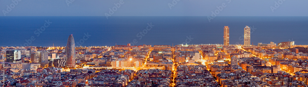 Fototapety, obrazy: Barcelona skyline panorama at the Blue Hour