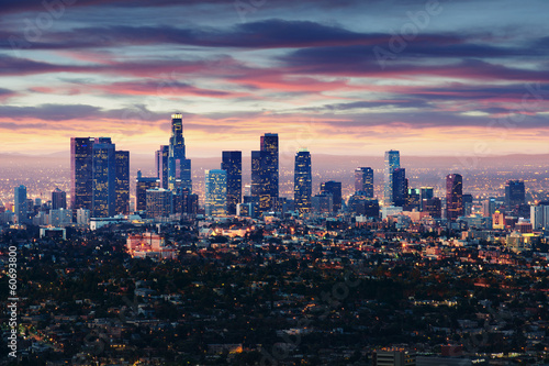 Vászonkép City of Los Angeles California at sunset with light trails