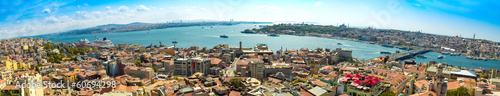Aluminium Prints Turkey Istanbul panoramic view from Galata tower. Turkey