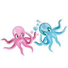 Two Dancing Octopus. Valentine's Day Illustration.