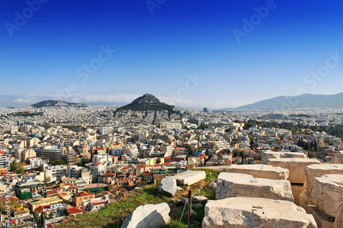 Poster Athens Panorama view of Athens and mount Lycabettus