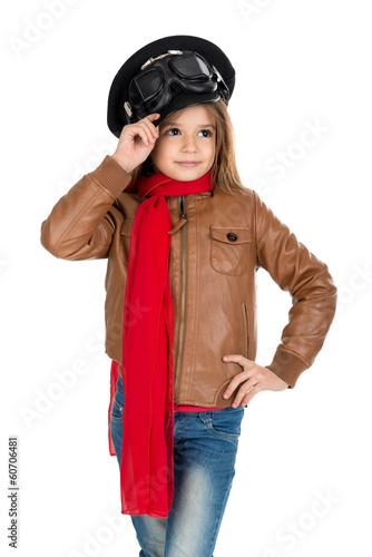 In de dag Ballon Young girl pilot