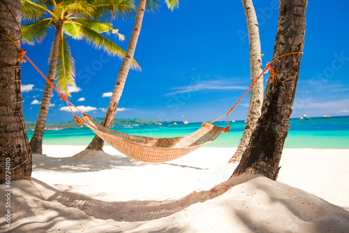 Poster  Straw hammock in the shadow of palm on tropical beach by sea