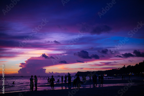 Poster Violet Colorful bright sunset on the island Boracay, Philippines