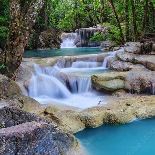 Foto op Canvas Watervallen Erawan Waterfall, Kanchanaburi, Thailand