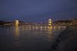 Illuminated Szechenyi Chain Bridge, Budapest, Hungary